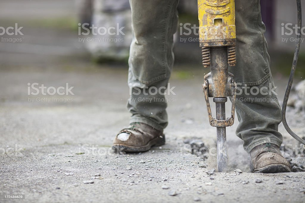 Detail of jackhammer in operation stock photo