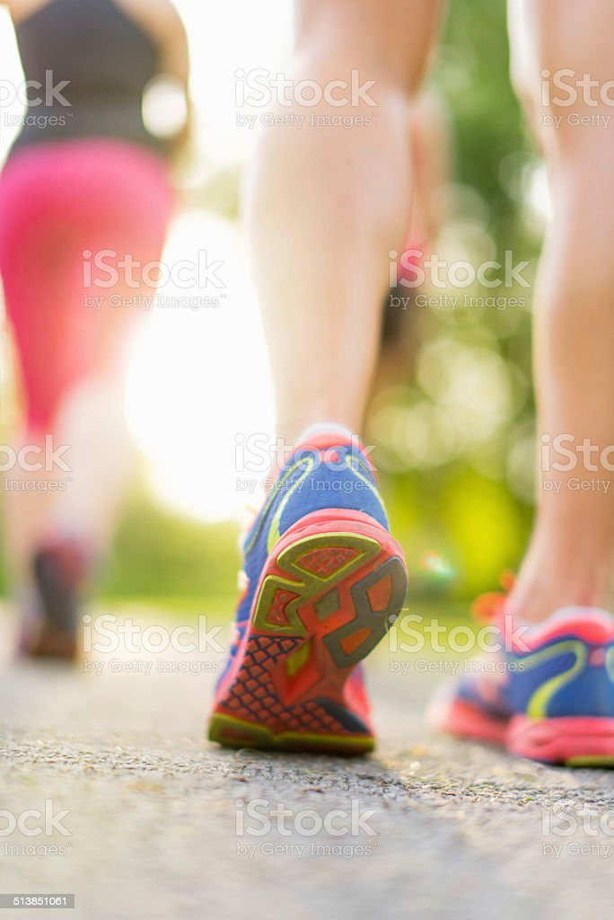 detail of legs during jogging stock photo