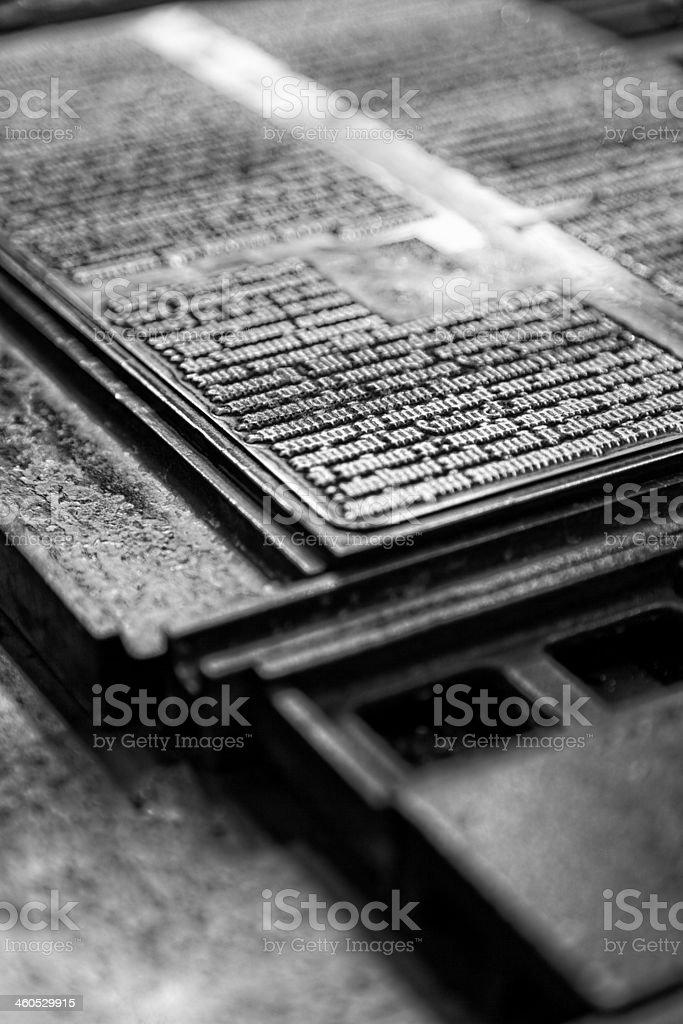 detail of letterpress stock photo