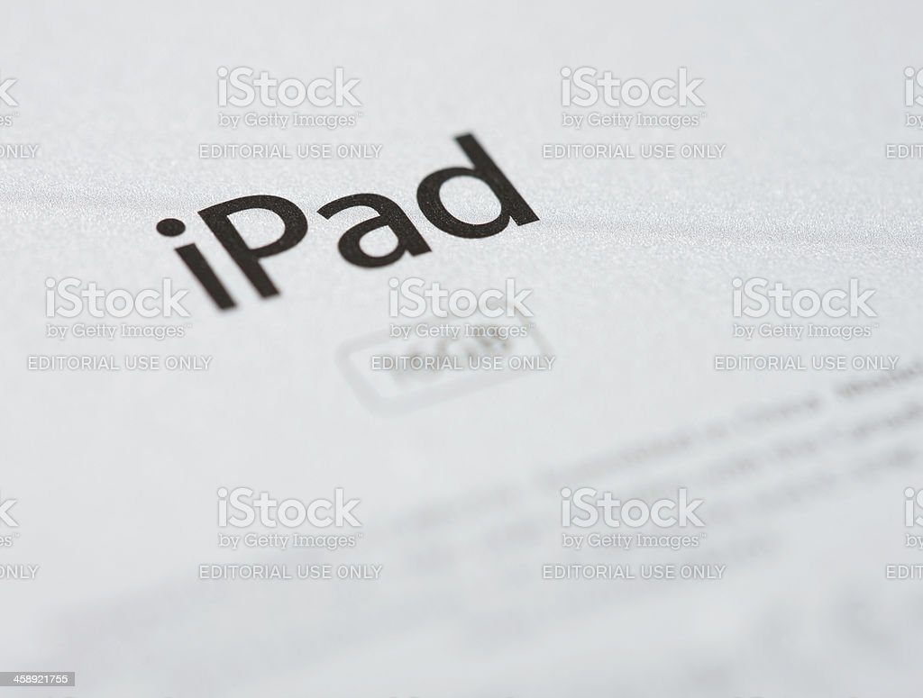 Detail of logo on third-generation Apple iPad royalty-free stock photo