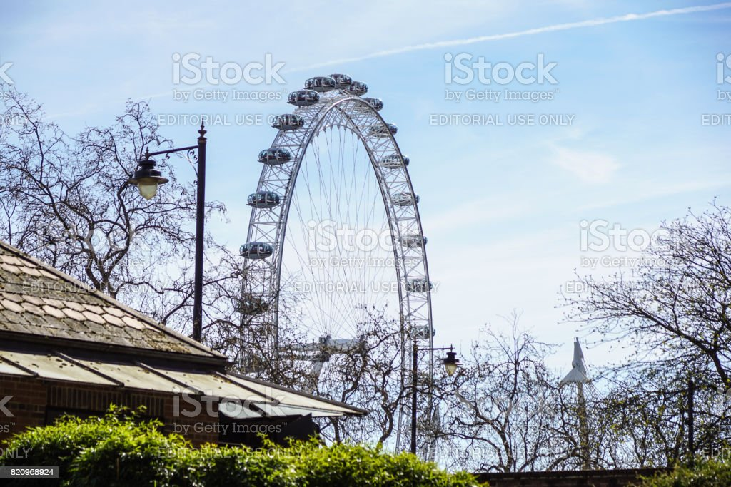 LONDON, UNITED KINGDOM - MAY 6: Detail of London Eye on May 6, 2011 in London, UK. London Eye is the tallest Ferris wheel in Europe at 135 meters stock photo