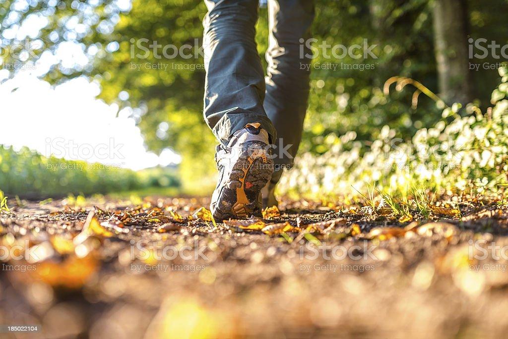 Detail of man hiking stock photo