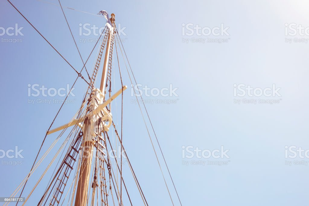 Detail of mast's ship on a sunny day with blue sky stock photo