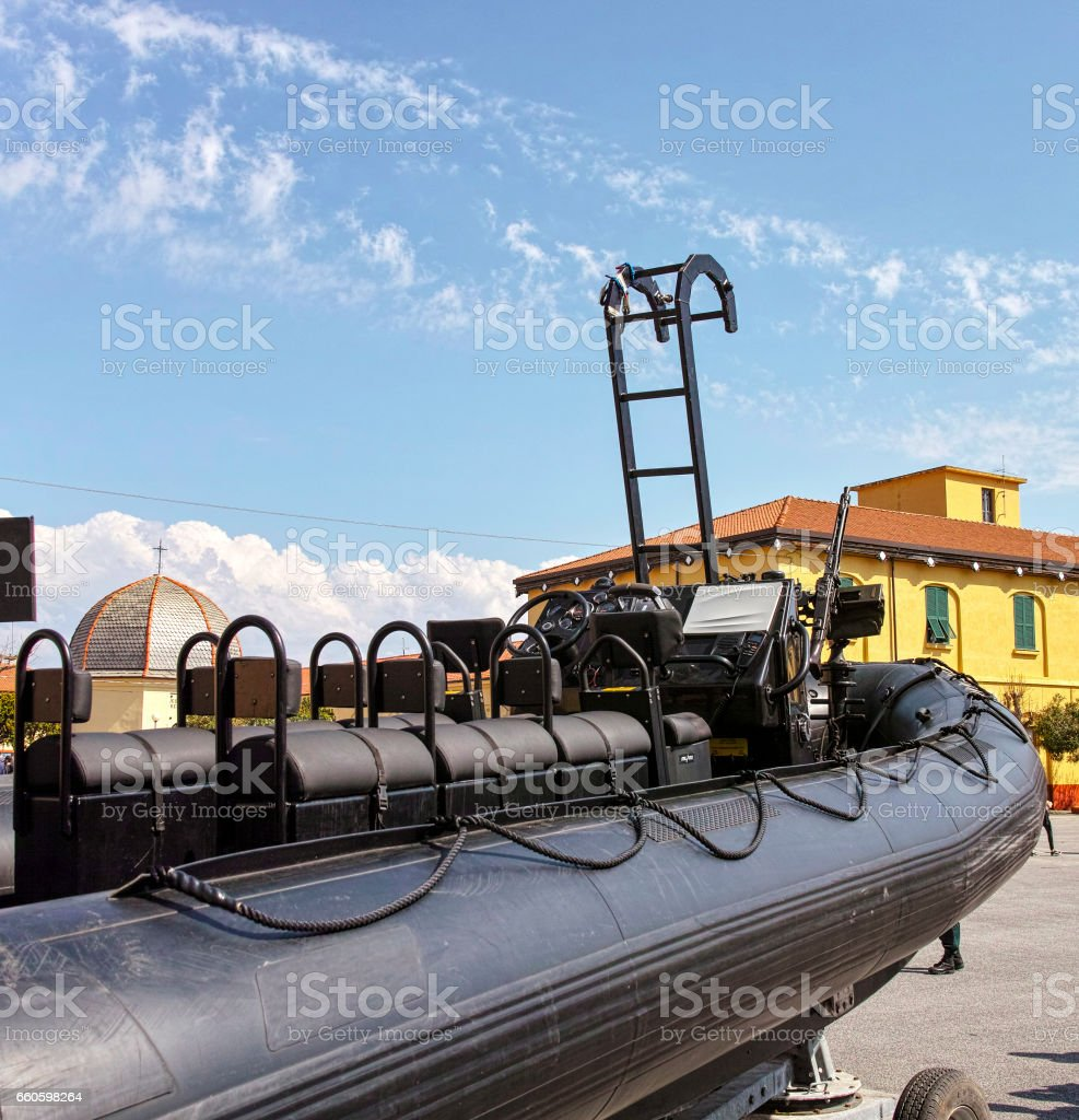 detail of military inflatable boat royalty-free stock photo