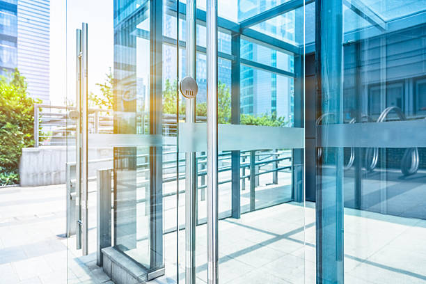 detail of modern building - building entrance stock photos and pictures