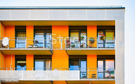 493502515 istock photo Detail of modern residential building with balconies Vilnius reflex 1195567643