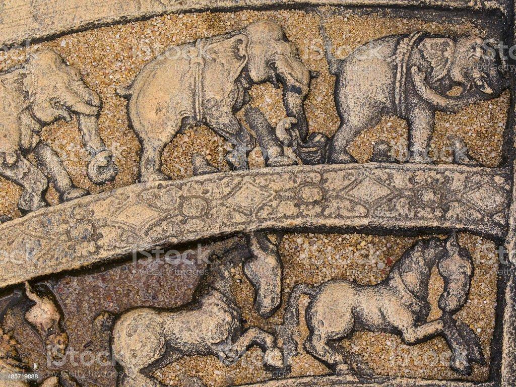 Détail de pierre de lune à Polonnaruwa, Sri Lanka - Photo