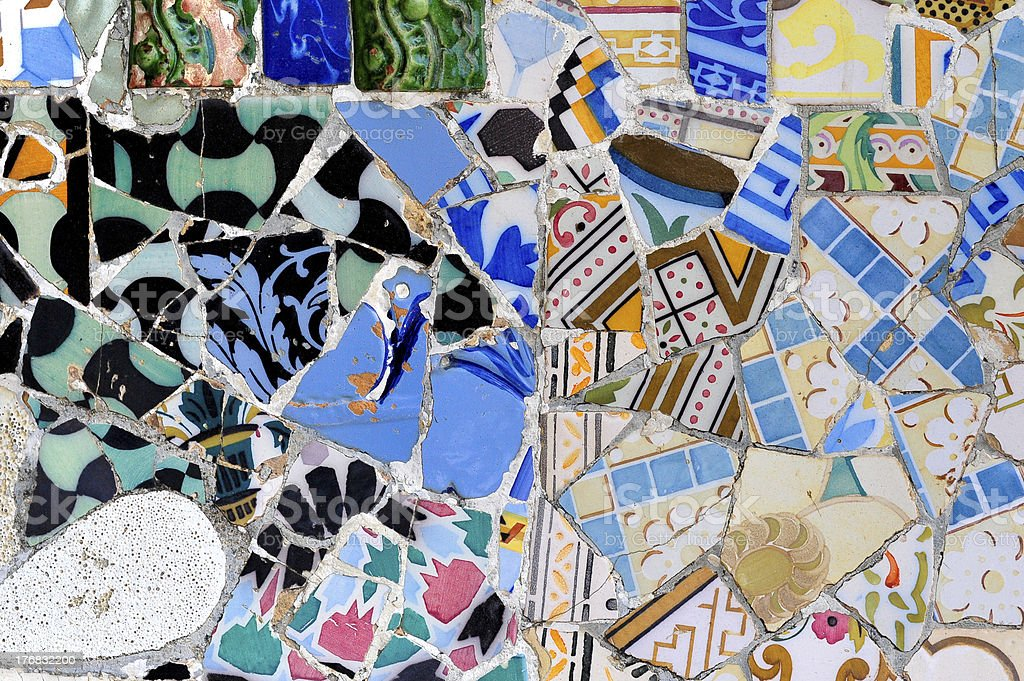 Detail of mosaic Guell park in Barcelona, Spain royalty-free stock photo