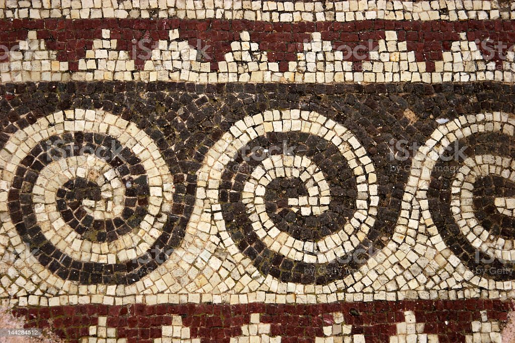 Detail of mosaic, Paphos archaeological site, Cyprus royalty-free stock photo
