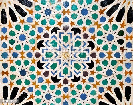 istock Detail of mosaics in  Nasrid Palace of Alhambra,Sevilla,Spain 170618758