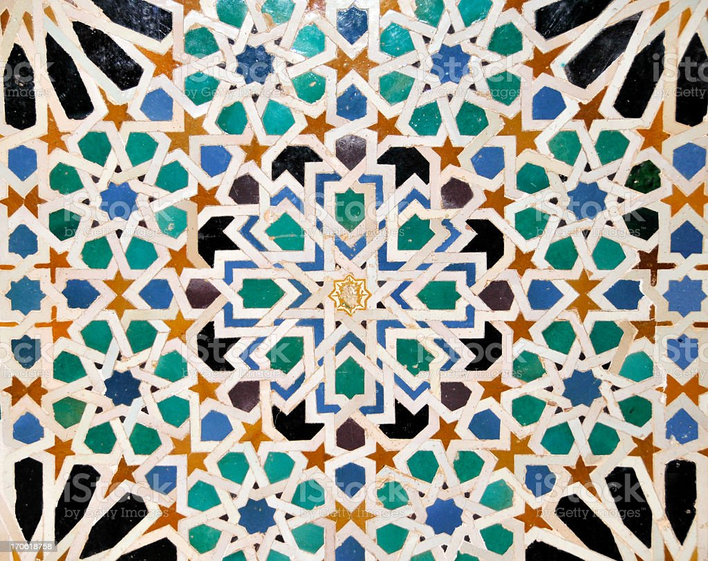 Detail of mosaics in  Nasrid Palace of Alhambra,Sevilla,Spain stock photo