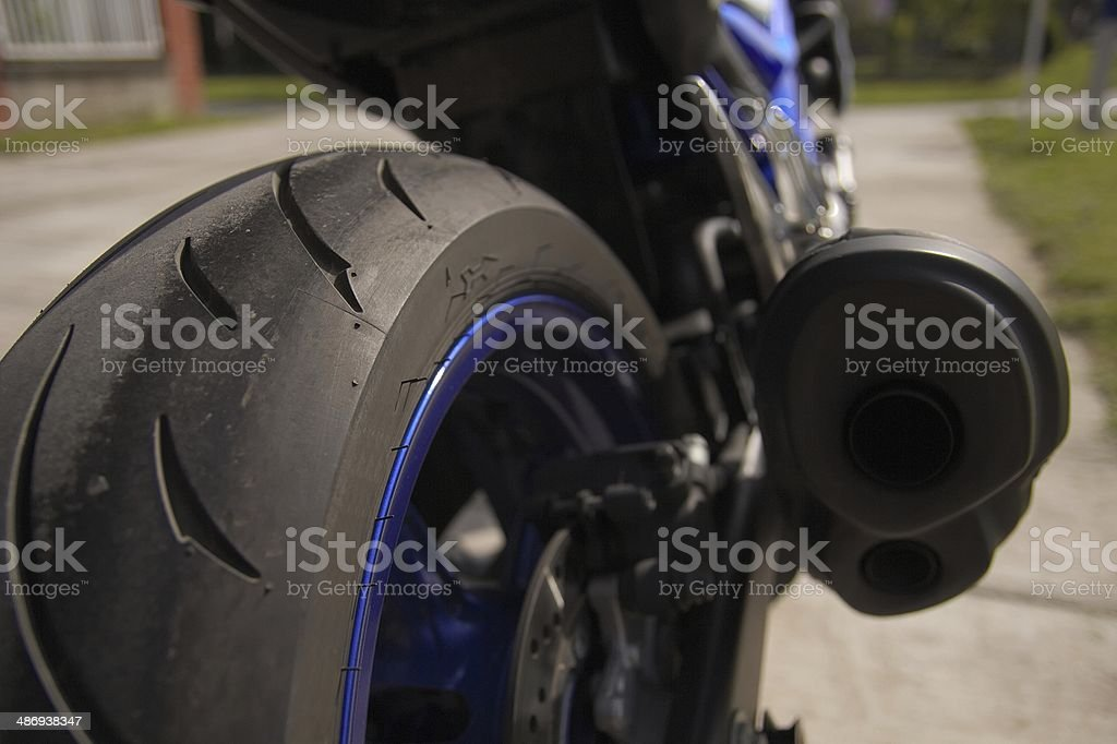 Detail of motorcycle tyre stock photo