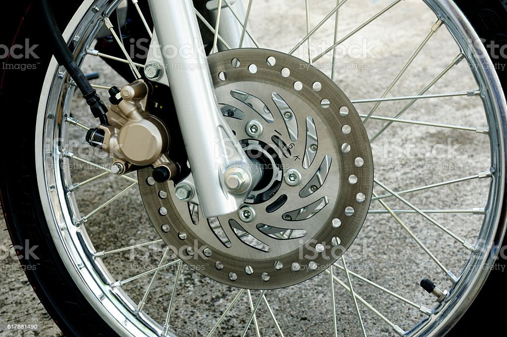detail of motorcycle wheel stock photo