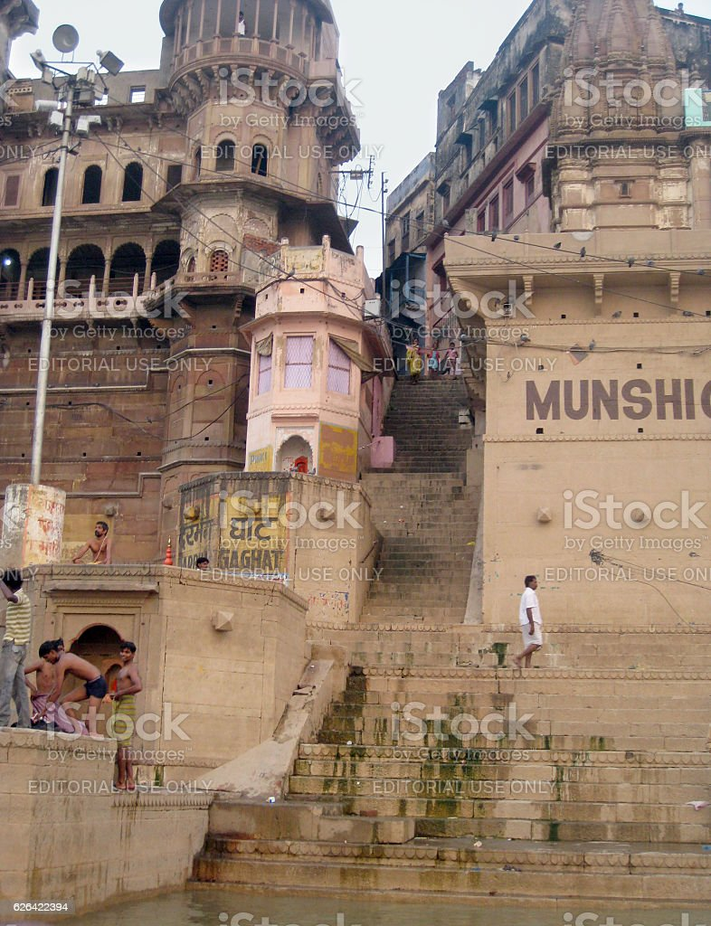 Detail of Munshi Ghat in Varanasi stock photo