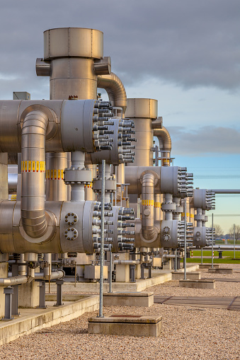 Detail of Recently upgraded Modern natural gas field  in the Netherlands