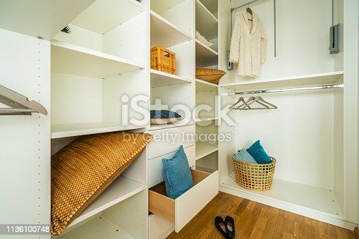 wide angle shot of modern european dressing room - walk-in closet - interior