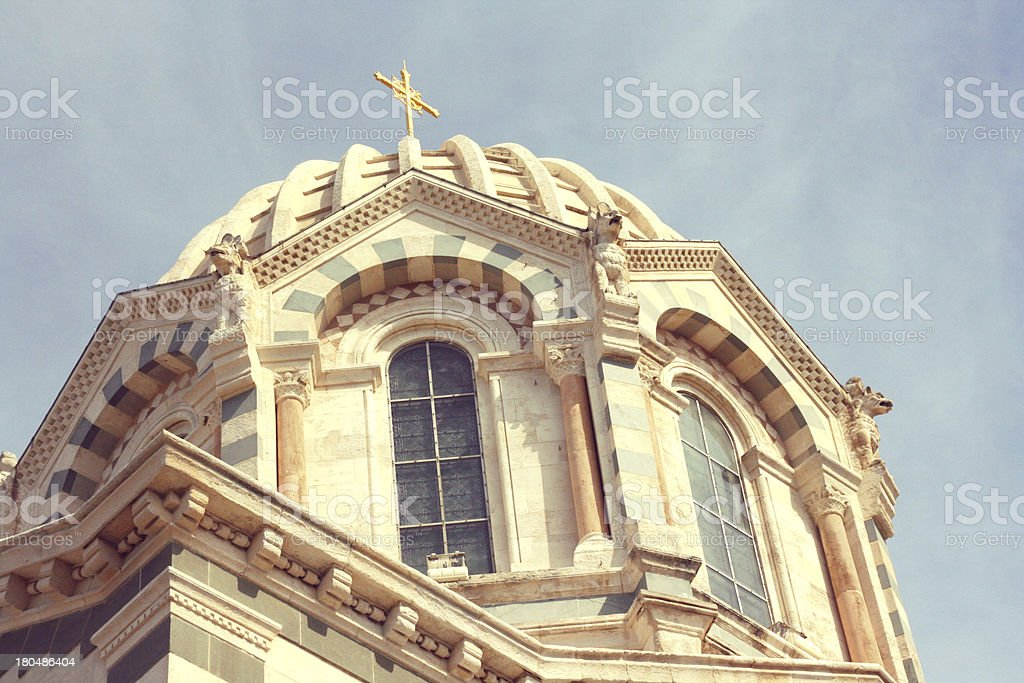 Detail of Notre-Dame de la Garde basilica in Marseille, France. royalty-free stock photo