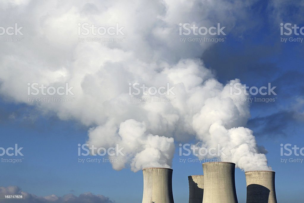 detail of nuclear power plant cooling towers royalty-free stock photo