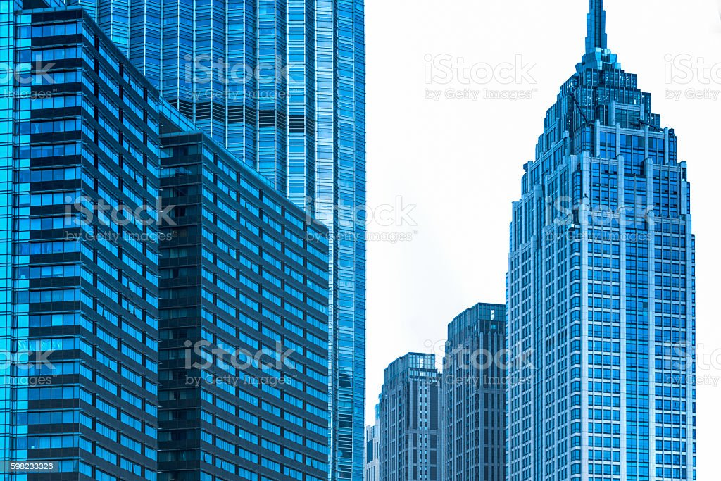 detail of Office buildings in Financial District foto royalty-free