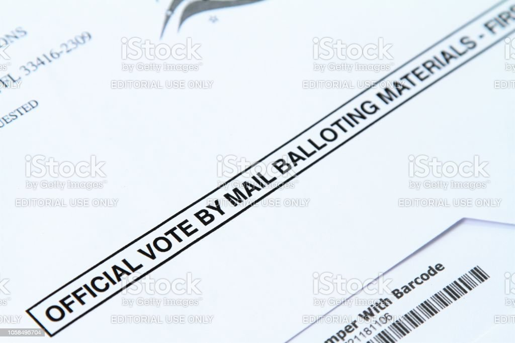 Detail of Official Vote by Mail ballot envelope stock photo