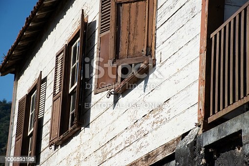 Sao Paulo, Brazil - June 24, 2018 -  Detail of old and abandoned house in the neighborhood of Paranapiacaba in the city of Santo André in the city of São Paulo, Brazil