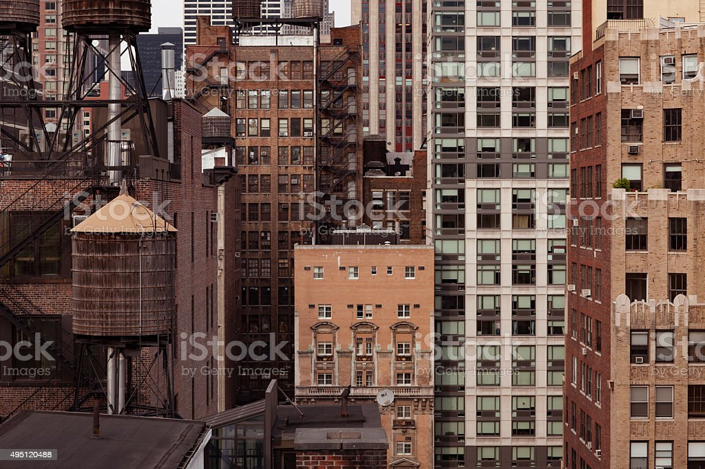 Detail of old brick buildings in New York City stock photo
