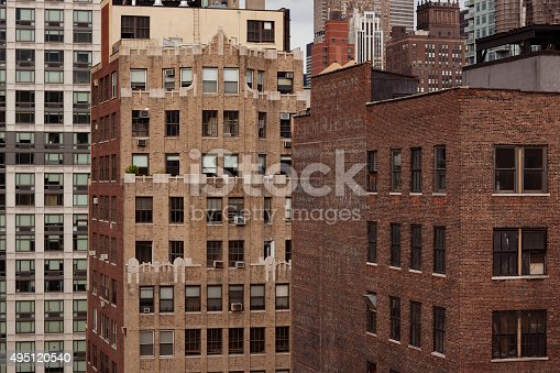 Detailed daylight image of classic brick buildings in New York City