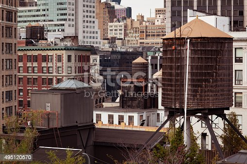 istock Detail of old brick buildings in New York City 495120570