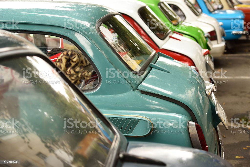 Detail of old cars of different colors stock photo