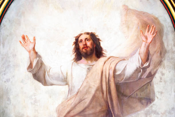 Detail of old fresco of Jesus Christ, background with copy space Detail of old fresco of Jesus Christ, from church build 1854 in Karlovy Vary Czech Republic, background with copy space, horizontal composition jesus christ stock pictures, royalty-free photos & images