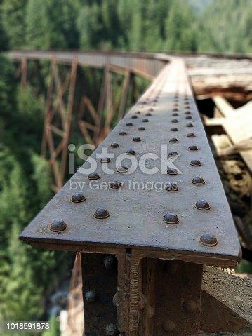 Detail of old bridge steel tee rail