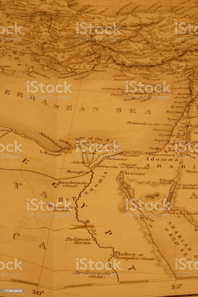 Detail of Old Map of the Egypt stock photo