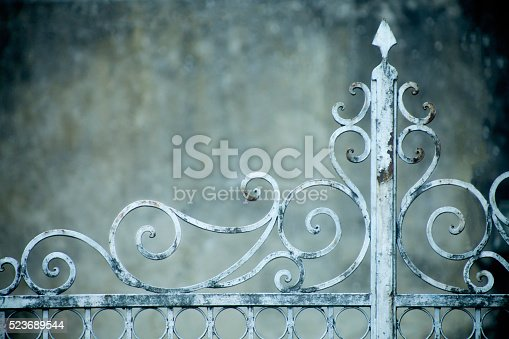 Detail of old rusty cast iron gate, entrance to an old garden and mansion.