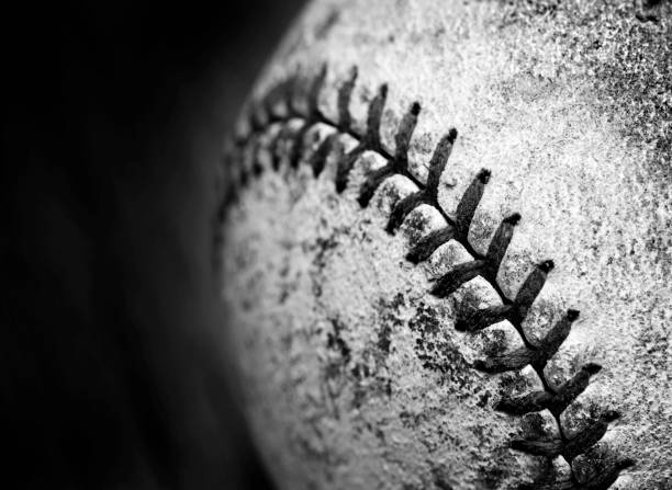 detail of old worn baseball with leather texture game sports competition - baseball стоковые фото и изображения