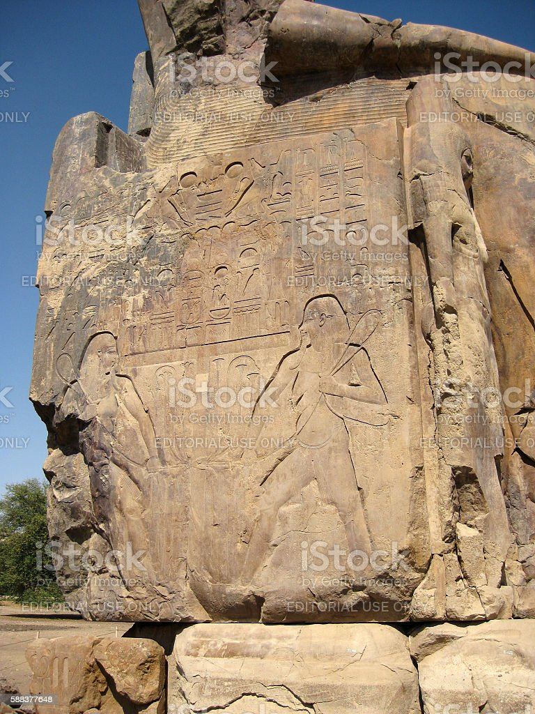 Detail of one of the Colossi of Memnon in Egypt stock photo