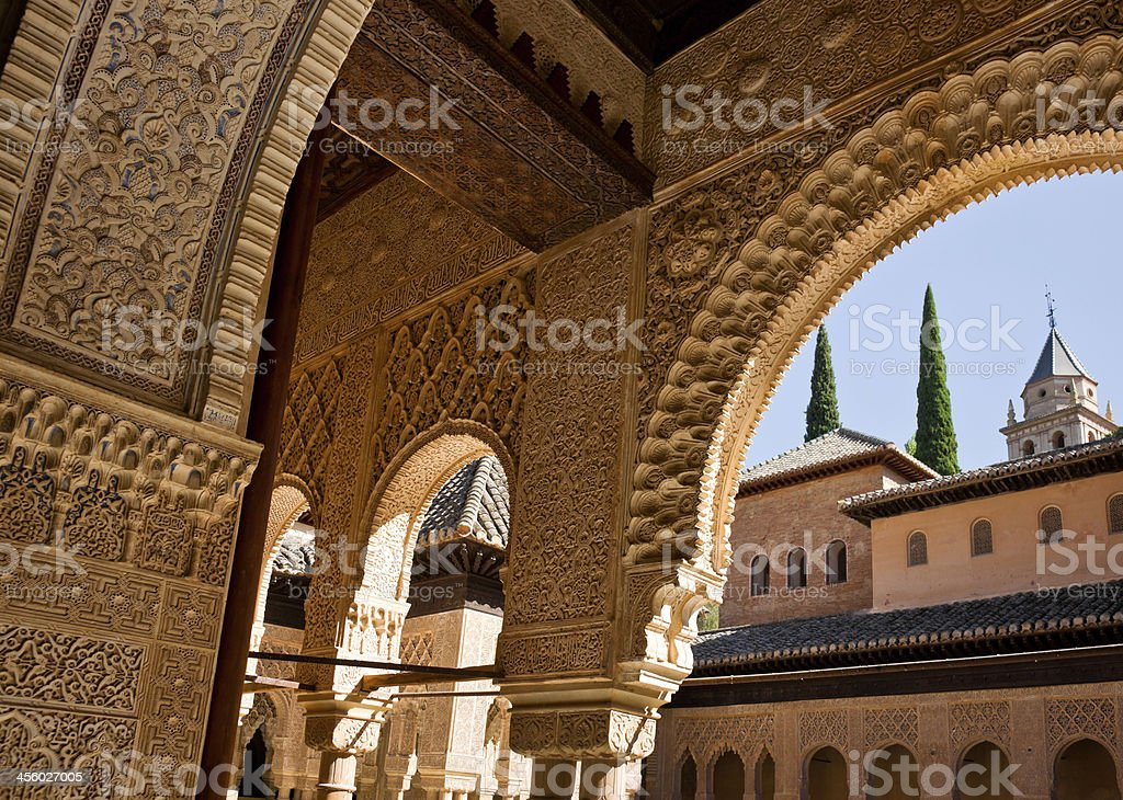 Detail of Ornate Decoration at Alhambra Palace in Granada, Spain stock photo