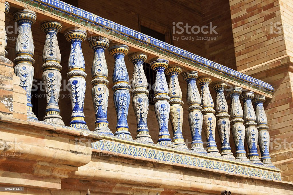Detail of Palacio Espanol in Plaza De Espana, Seville royalty-free stock photo