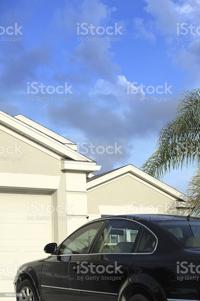 detail of parked car and house royalty-free stock photo