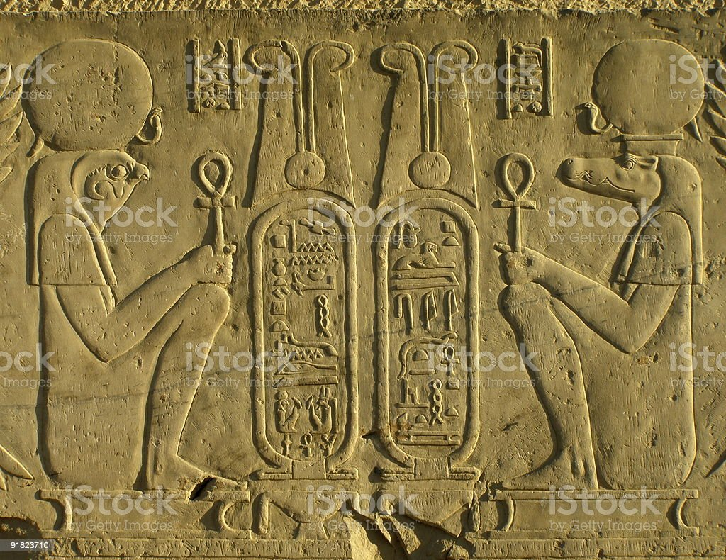 Detail of Pharoahs and their Cartouches at an Egyptian Temple royalty-free stock photo