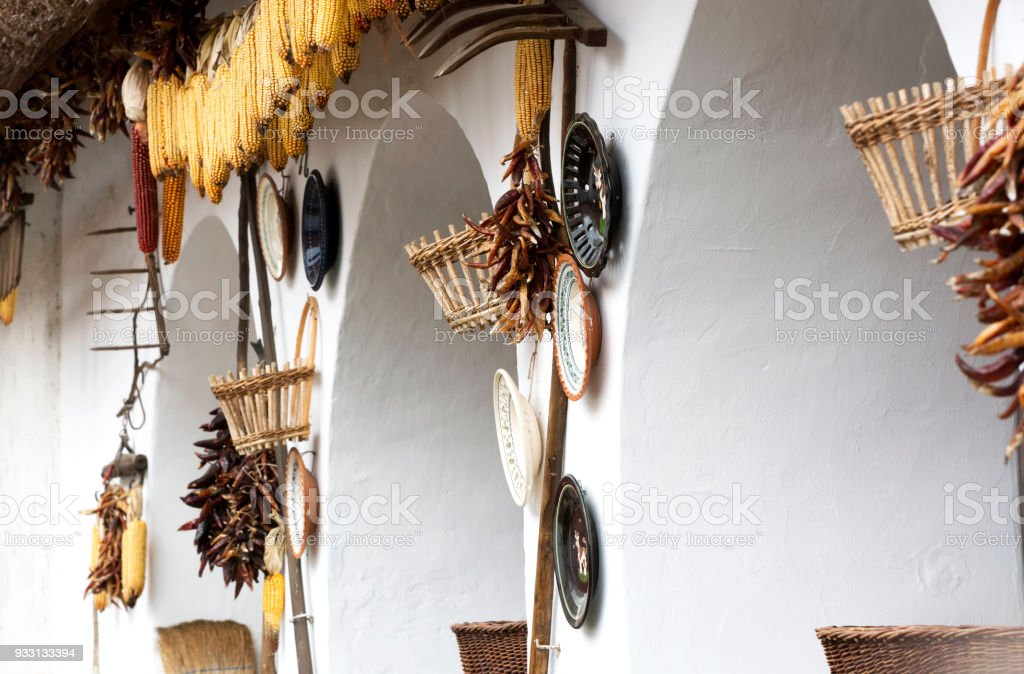 Detail of Pottery house in Tihany at Lake Balaton, Hungary stock photo