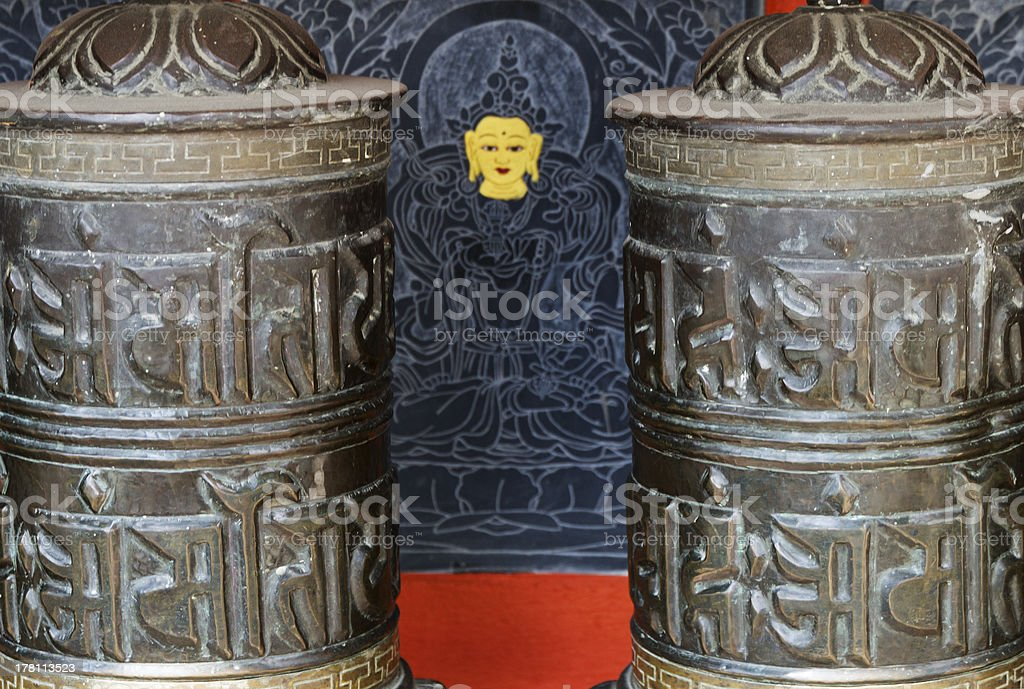 detail of prayer wheels in nepal royalty-free stock photo