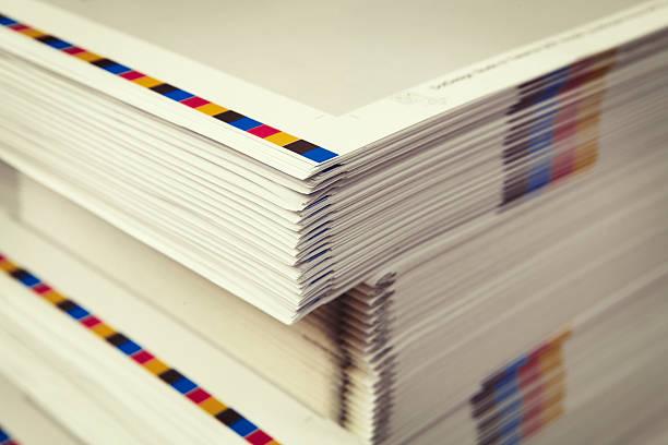 Detail of printed folders in the printing factory - foto de acervo