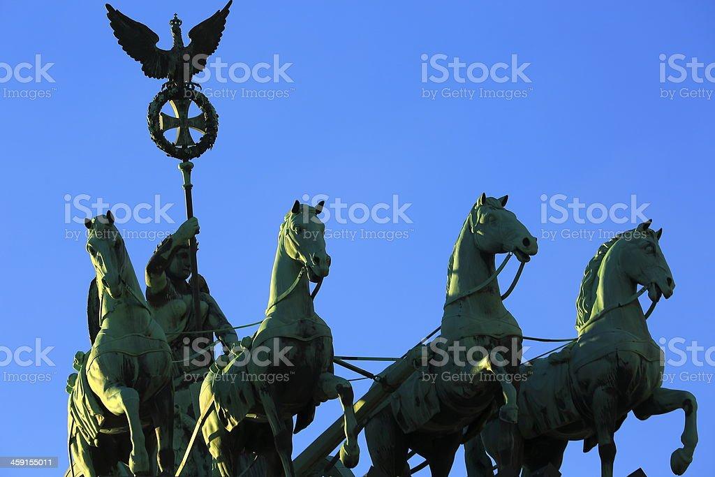 Detail of Quadriga  Brandenburg Gate in Berlin, Germany stock photo