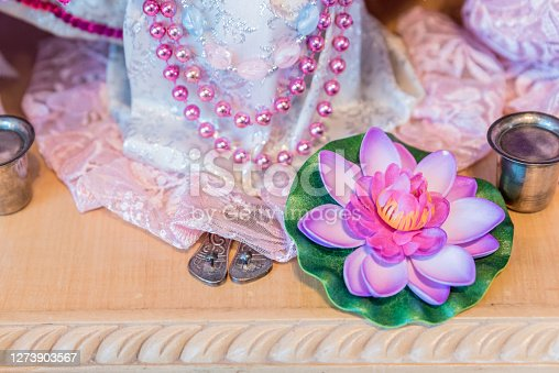 Detail of Radha Krishna Deity on the Altar, Hindu God and Goddess with Symbols of their Deity's Power