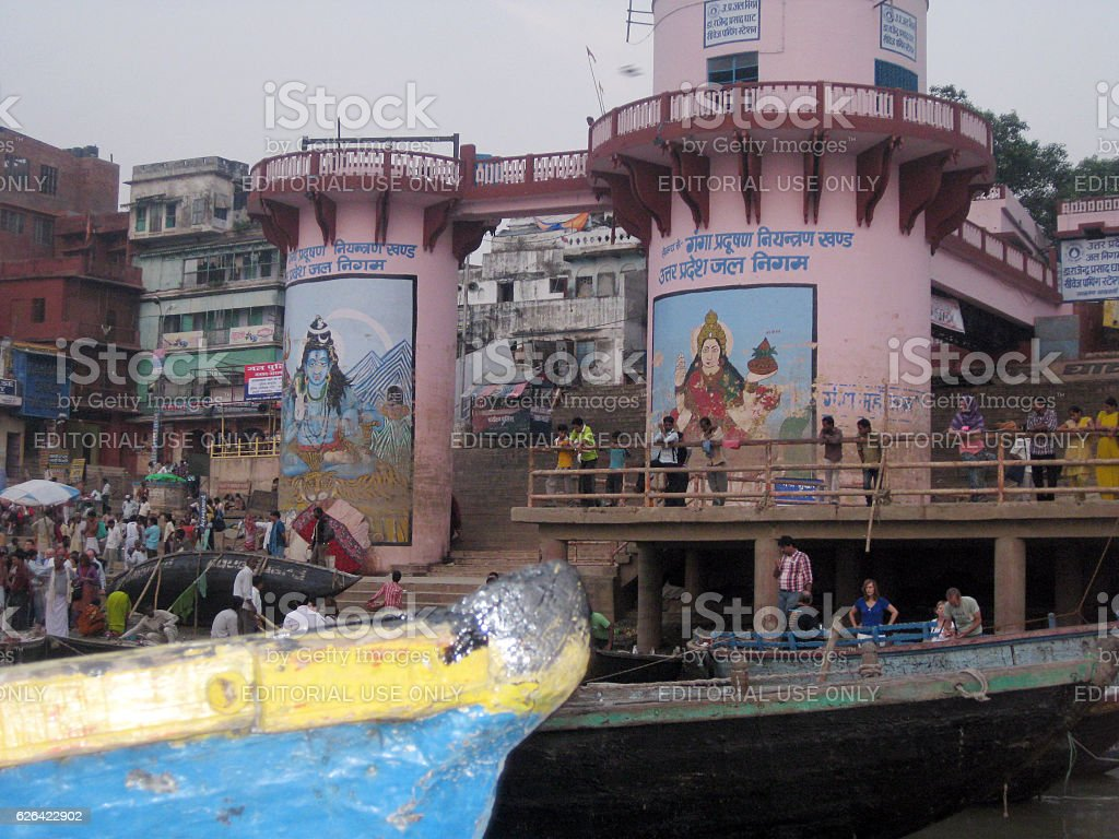 Detail of Rajendra Prasad Ghat in Varanasi stock photo
