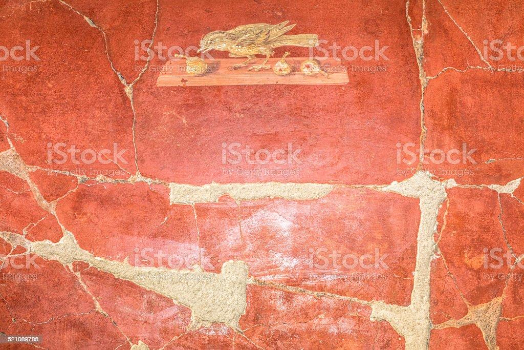 detail of red pompeian fresco stock photo