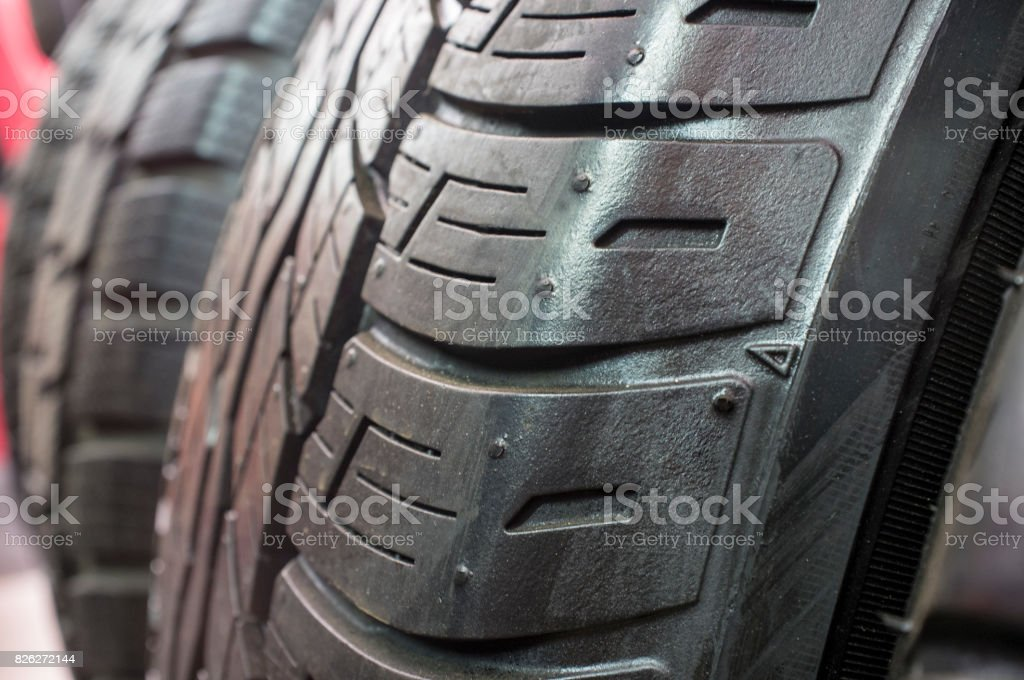Detail Of Retread Tyres Closeup Stock Photo - Download Image Now