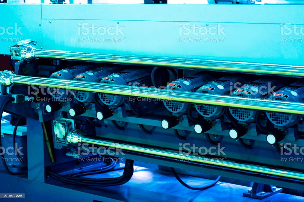 detail of roll printing machine stock photo