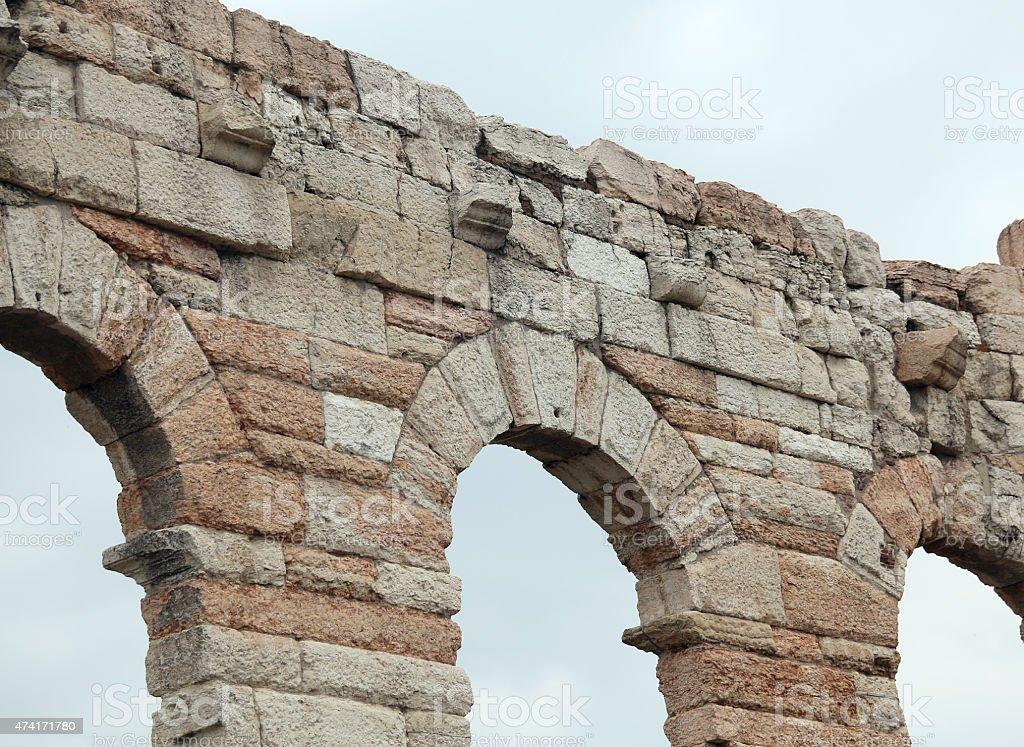 Details der Bögen in der römischen Arena in Verona Stadt – Foto