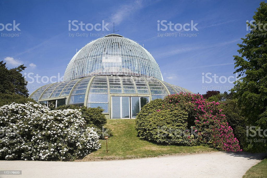 """Detail of Royal Greenhouse in Brussels """"Detail of the Royal Belgian Greenhouses, made of metal and glass.Built in 1873. Architect: Alphonse Balat, with help of Victor Horta. Location: Royal Laeken park, Brussels"""" Architecture Stock Photo"""